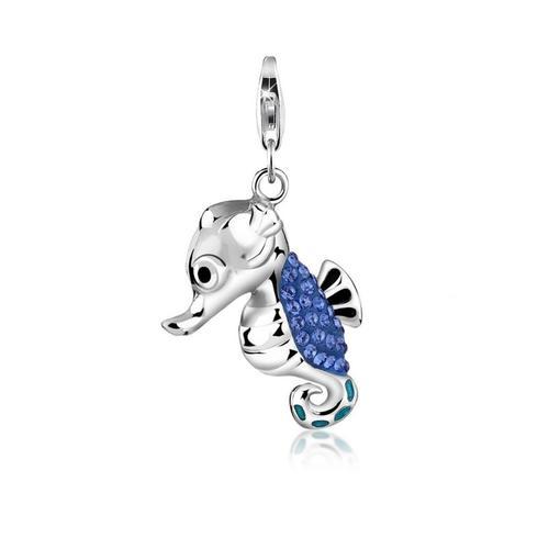 Nenalina Charm-Einhänger »Seepferdchen Kristalle Meer 925 Silber«