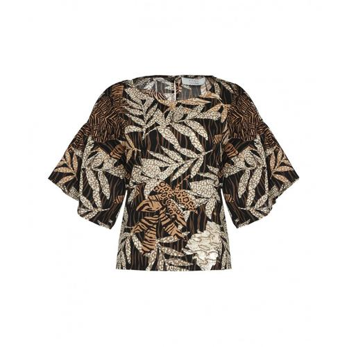 Kaos Damen Bluse mit Safari-Print Schwarz