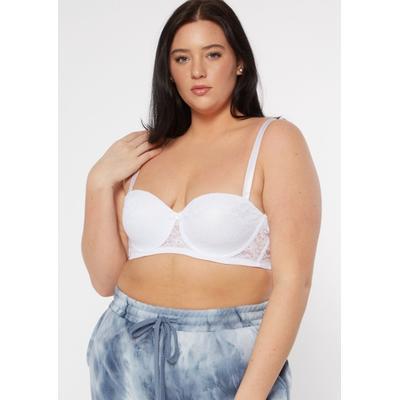 Rue21 Womens Plus Size White Lace Convertible Bra - Size 38D