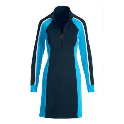 Boston Proper - B-Active Color Block Zip Sport Dress - Navy Multi - Small