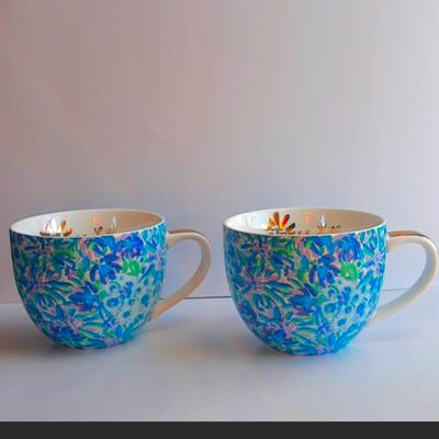 Lilly Pulitzer Dining | Lily Pulitzer Ceramic Mugs (Set Of 2) - Blue | Color: Blue/Gold | Size: Os