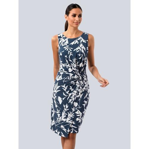 Alba Moda, Kleid mit seitlichem Knoten, blau