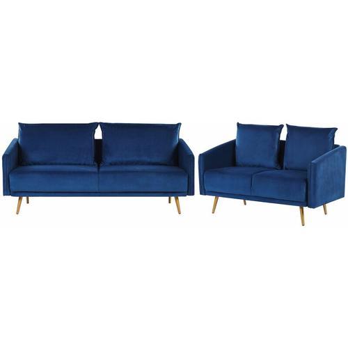 Beliani - Sofa Set Dunkelblau aus Samtstoff Sitzgruppe mit Metallbeinen und abziehbaren