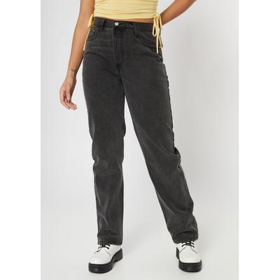 Rue21 Womens Black Asymmetrical Waist Straight Jeans - Size 16