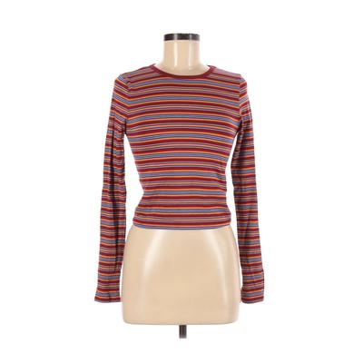 Forever 21 Long Sleeve T-Shirt: Red Print Tops - Size Medium