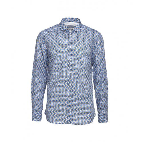 Bastoncino Herren Hemd mit Muster Blau