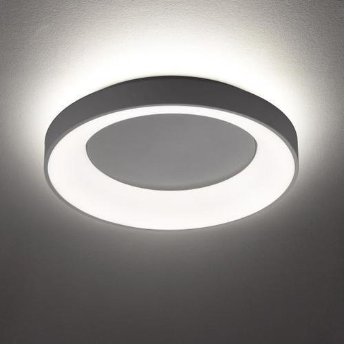 wofi Shay LED Deckenleuchte mit Backlight Ø 45 H: 10 cm, dunkelgrau 11204, EEK: A+