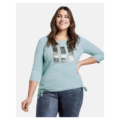 Shirt mit Pailletten aus GOTS zertifizierter Bio-Baumwolle Samoon Cameo Blue gemustert