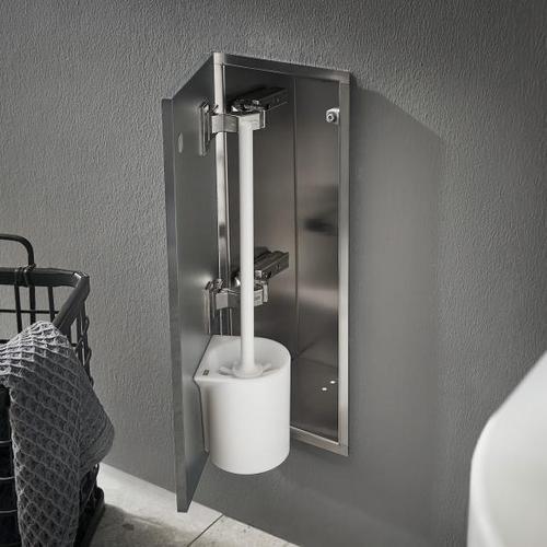 Emco Asis Pure Unterputz-Toilettenbürstengarnitur-Modul B: 170 H: 435 T: 148,5 mm, Anschlag links grau matt 975551504