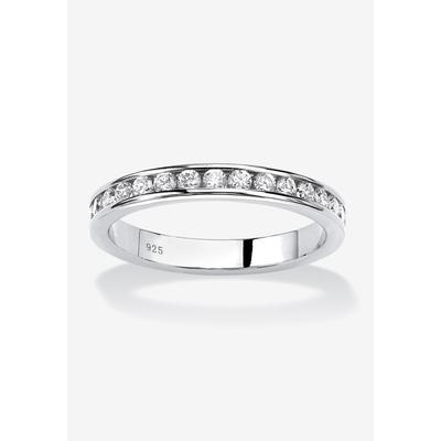 Plus Size Women's Sterling Silver Simulated Birthstone Stackable Eternity Ring by PalmBeach Jewelry in April (Size 7)