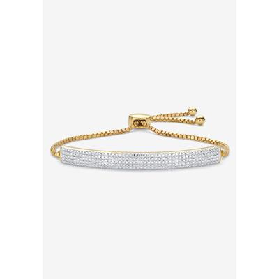 "Plus Size Women's Gold-Plated Bolo 9"" Bracelet with Diamond Accents by PalmBeach Jewelry in Diamond"