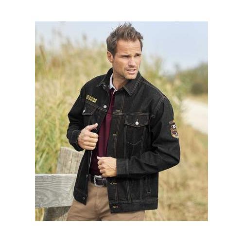 Jeans-Jacke mit Webetiketten