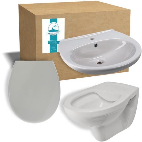 ® - Komplettset in Manhattan-Grau aus Wand-WC, Toilettendeckel und 60 cm großen Waschbecken