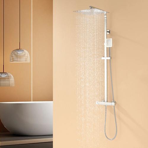 Thermostatmischer-Duschset Schwarzes 9 Zoll Overhead-Dusche Duschsäule Thermostatmischer Dusche