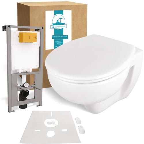 ® Set Spülrandloses Wand-WC mit WC-Sitz, Vorwandelement & Schallschutz, WC-Sitz mit