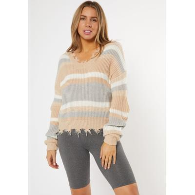 Rue21 Womens Taupe Striped Destructed Cropped Sweater - Size S