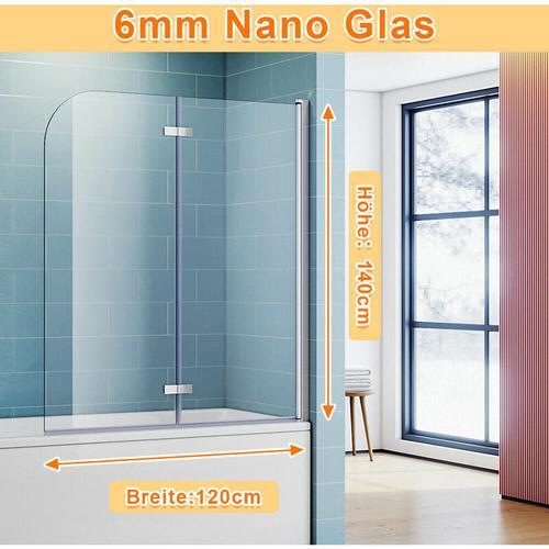 Badewannenaufsatz Dusche Badewannenfaltwand Glas Duschwand für badewanne 2-teilig 140x120(HxB),mit
