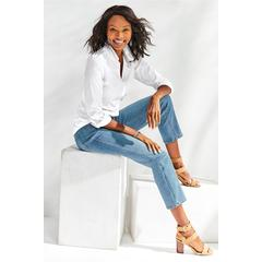 Women's Petites The Ultimate Straight Cropped Jeans by Soft Surroundings, in Skye size 2 Petite