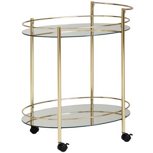 FineBuy Servierwagen Gold Beistelltisch auf Rollen Glas Speisewagen Teewagen