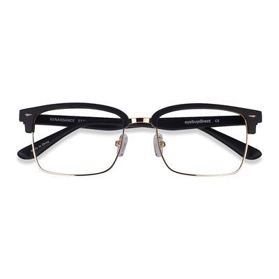 Male's Browline Black Gold Metal Prescription eyeglasses - EyeBuydirect's Renaissance
