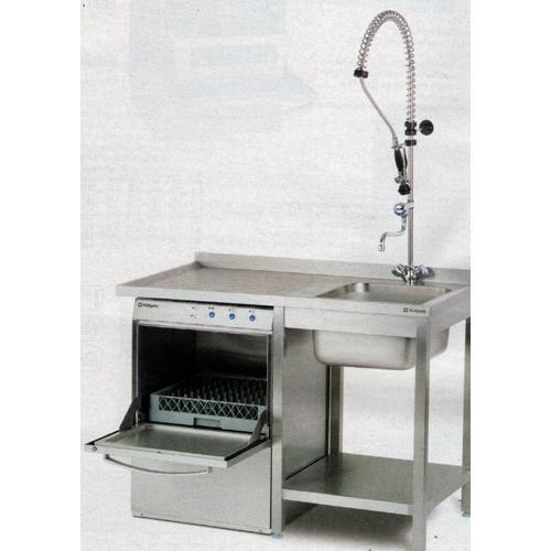 Stalgast Spültisch Höhe 850 mm mit Grundboden und Überstand mit einem Becken mit Aufkantung verschweißt inc. Geschirrspülmaschine und Geschirrbrause