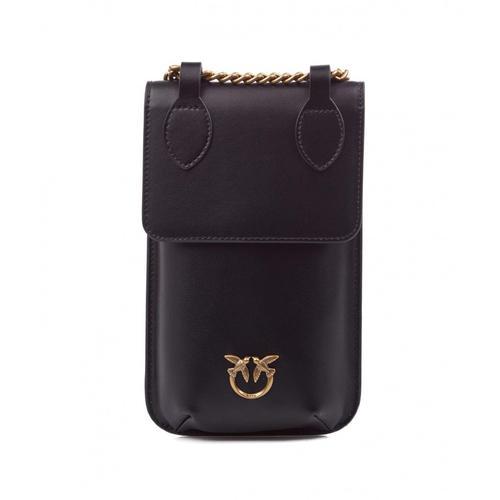 Pinko Damen Smartphone Case aus Leder Schwarz