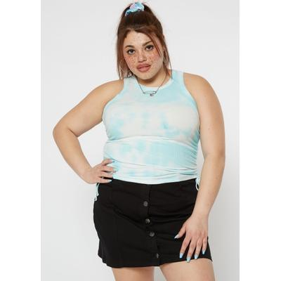 Rue21 Womens Plus Size Teal Tie Dye Ruched Side Tank Top - Size 3X