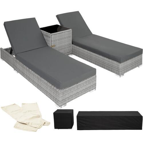 2 Sonnenliegen Rattan mit Aluminiumgestell und Tisch inkl. Schutzhülle - Gartenliege, Liegestuhl,