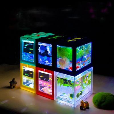 LeChong bureau Mini Aquarium avec lumière bricolage empilable tortue réservoir petit Aquarium