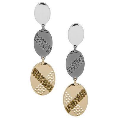Nine West Triple Oval Crystal Drop Earrings