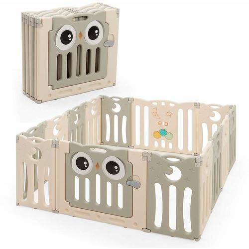 14 Paneele Laufgitter mit Tuer und Spielzeugboard Baby Laufstall faltbar, Absperrgitter aus