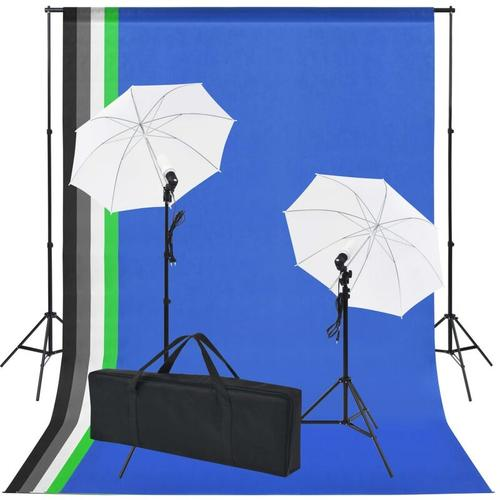 Fotostudio-Set: 5 Bunte Hintergründe & 2 Schirme - Youthup