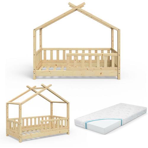 VITALISPA Kinderbett Hausbett DESIGN 70x140 Natur Zaun Kinder Holz Haus Hausbett