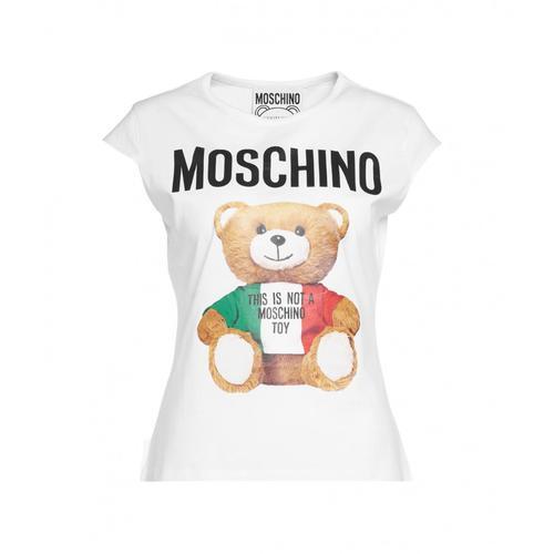 Moschino Damen T-Shirt mit Teddy-Print Weiß