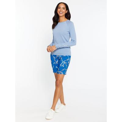 J.McLaughlin Women's Masie Shorts in Palio Belt Navy Blue/Grey, Size 6