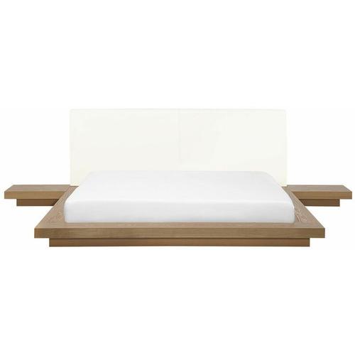 Beliani - Wasserbett Braun 160 x 200 cm Mit Wasserbettmatratze Holzfurnierte MDF Platte Elegant
