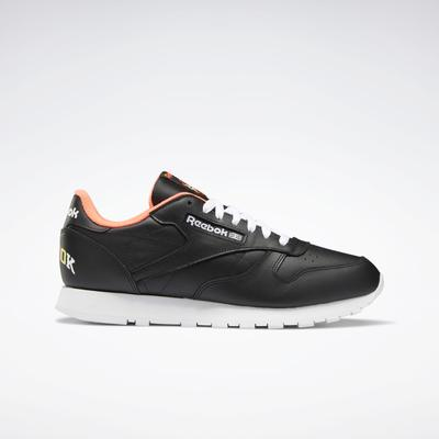 Reebok Men's Classic Leather Shoes in Black/Ftwr White/Orange Flare Size 6.5 - Lifestyle Shoes