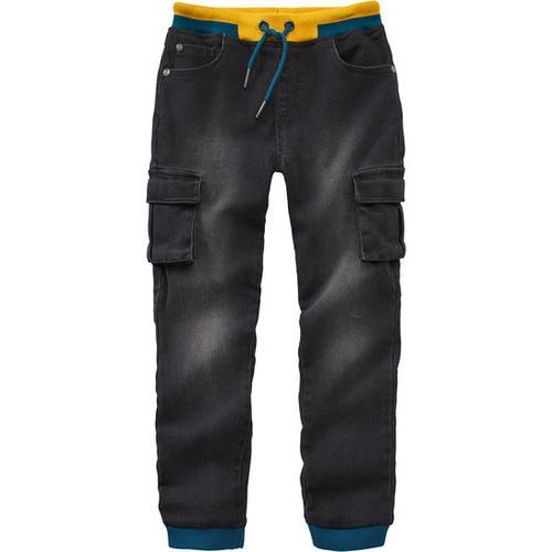 Cargohose-Bequemhose Jeans-Optik, schwarz, Gr. 80