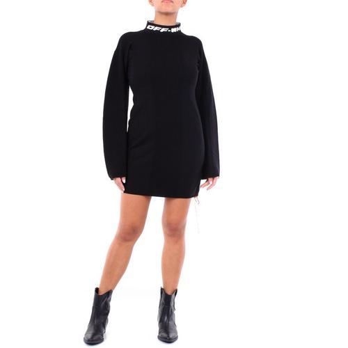 Off-White c/o Virgil Abloh Cremefarbenes kurzes kleid in schwarz