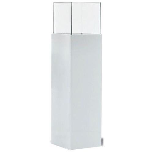 Bodenwindlicht Glossy, aus Kunststoff, Aluminium und Glas weiß Kerzenhalter Kerzen Laternen Wohnaccessoires