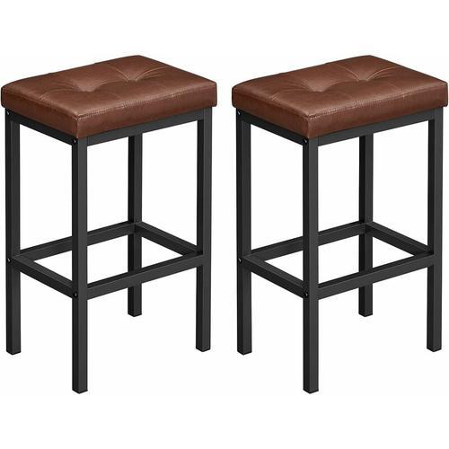 Songmics - VASAGLE Barhocker, 2er Set, Barstühle, 40 x 30 x 62 cm, rückenfrei, PU-Bezug, einfache