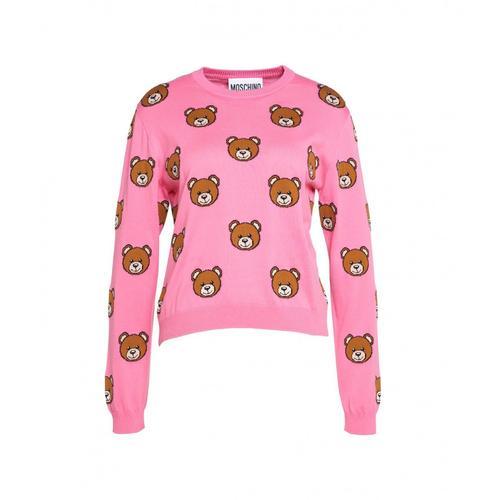 Moschino Damen Bedruckter Pullover Pink
