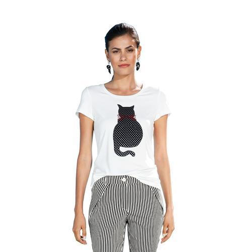 AMY VERMONT, Shirt mit Katzen-Motiv, weiß