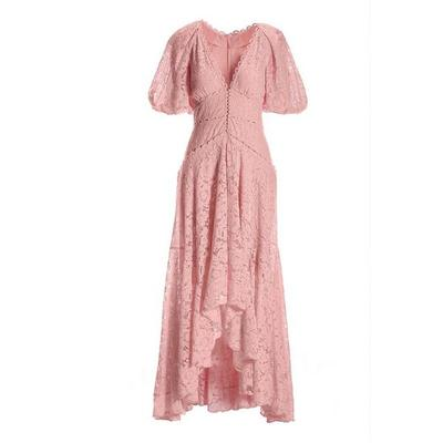 Boston Proper - Puff-Sleeve Lace High-Low Dress - Candy Pink - 02