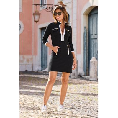 Boston Proper - Three-Quarter Sleeve Chic Zip Dress - Black/white - X Small