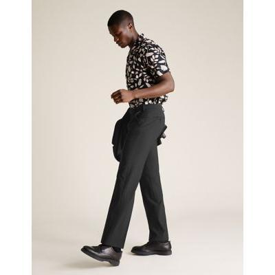 Mens M&S Collection Grandes tailles - Pantalon noir coupe standard - Black