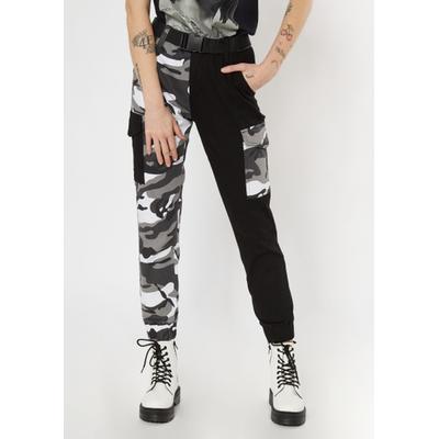 Rue21 Womens Black Camo Two Tone Cargo Pants - Size M