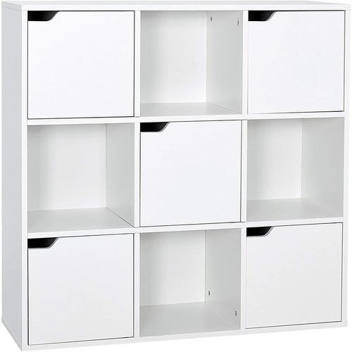 Meerveil - Bücherschrank, Bücherregal, Aufbewahrungsregal, 9 Fächer mit 5 Türen, Vielschichtiges