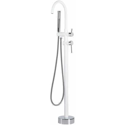 Duscharmatur Armatur Freistehend Mischer Wasserhahn Dusche Set Brause Weiß-Silber Edelstahl Messing