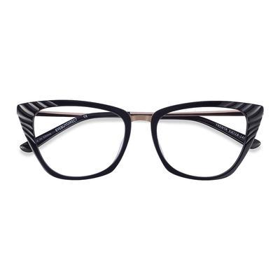 Female's Horn Black Gold Acetate Prescription eyeglasses - EyeBuydirect's Trenta